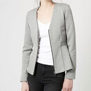 Top Shop • Peplum gray zip blazer